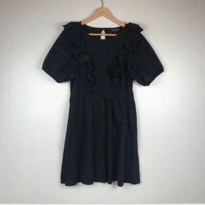 NEW Topshop Black Dress Ruffle Balloon Sleeves